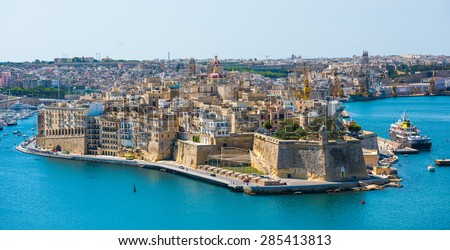 beautiful panoramic view on Valletta from the sea in Malta - stock photo