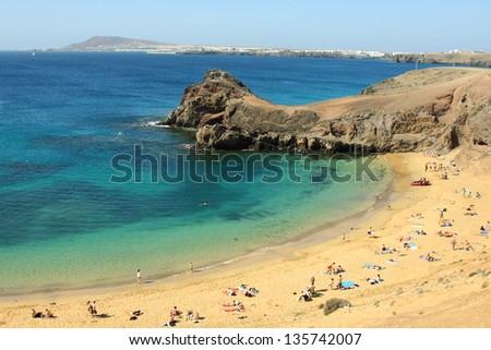 Beautiful Papagayo beach at Lanzarote - stock photo