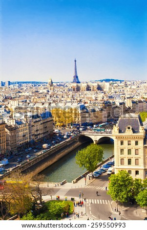 Beautiful Paris cityscape with Eiffel tower, France - stock photo