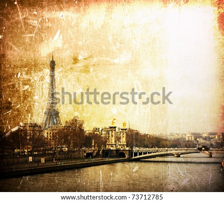 beautiful Parisian streets - The Eiffel Tower - stock photo