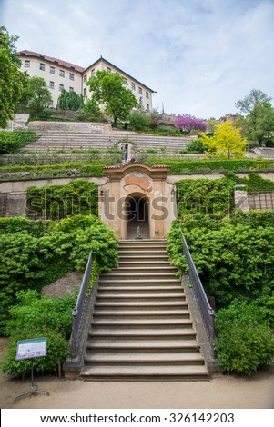 beautiful park in Prague during the day - stock photo