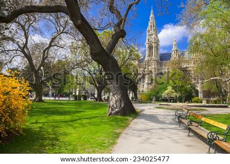 beautiful park near city hall in Vienna, Austria - stock photo