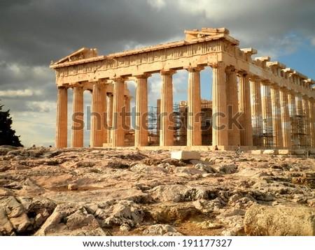 Beautiful Parthenon temple ruins Athens, Greece. - stock photo