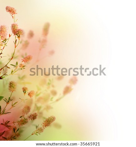 Beautiful Pastel Floral Border - stock photo