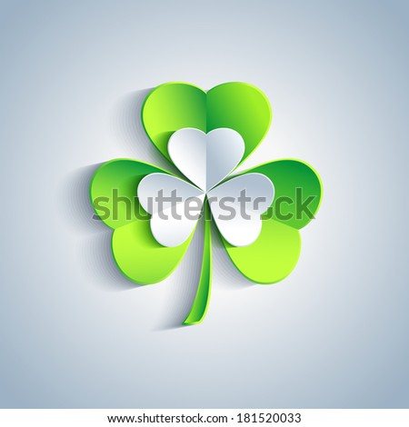 Beautiful Patricks day card gray with 3d leaf clover. Trendy Patricks day background with gray and green leaf clover. Modern floral background. Raster version  - stock photo