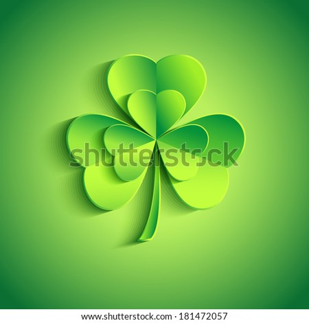 Beautiful Patricks day card green with stylized 3d leaf clover. Trendy Patricks day background with green leaf clover. Modern floral background. Raster version - stock photo
