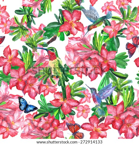 Beautiful pattern of exotic flowers and flying birds of paradise on a white background. isolated blossom flowers and flying butterflies.  - stock photo