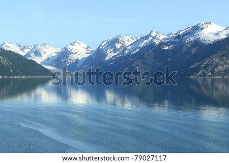 Beautiful peaceful water in Glacier Bay, Alaska - stock photo