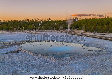 Beautiful Pearl Geyser at Sunset - Norris Basin Yellowstone - stock photo