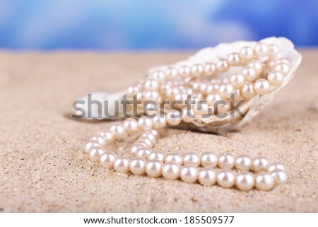 Beautiful pearls in shell on sand, close up - stock photo