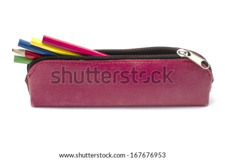 Beautiful pencil case isolated on white - stock photo