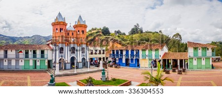 Beautiful Penol old town replica of the main street in old Guatape before it was inundated, Colombia. Panorama - stock photo