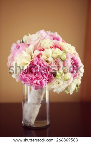 Beautiful peonies bouquet - stock photo