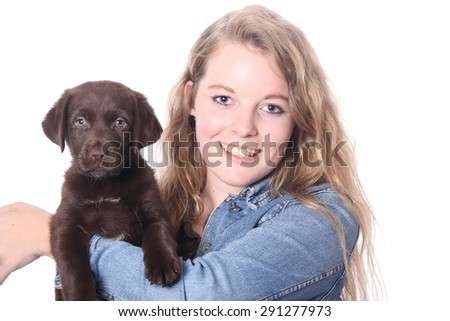 Beautiful people with dog - stock photo