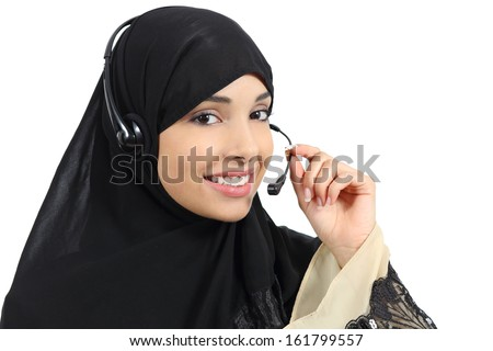 Beautiful phone operator arab woman working isolated on a white background     - stock photo
