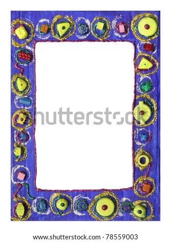 Beautiful photo frame designed with glitter glue and beads, a child art - stock photo