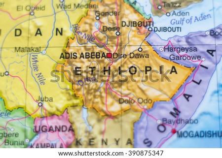 Beautiful photo of a map of Ethiopia and the capital Adis Abeba . - stock photo