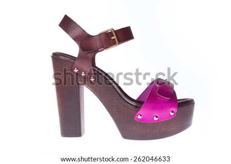 Beautiful photo of female leather sandals isolated on white background. Pink sandals - stock photo