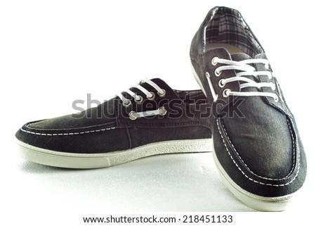 Beautiful photo of male shoes isolated on white background. - stock photo