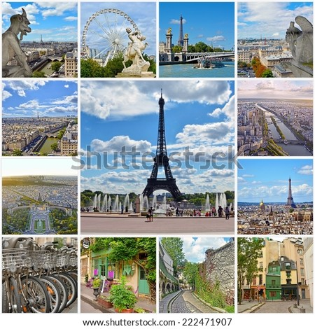 Beautiful photos of Paris. Eiffel tower and other famous places and landmarks of Paris. Collage travel background - stock photo
