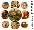 Beautiful photos of the famous places in Rome. Collage - stock photo