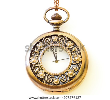 Beautiful photos of vintage watches on a chain. Isolated on white. - stock photo