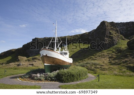 Beautiful picture of fishing boat Tindur - stock photo