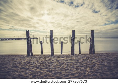 Beautiful piece of old destroyed pier in Gdynia, poland. Seascap  - stock photo