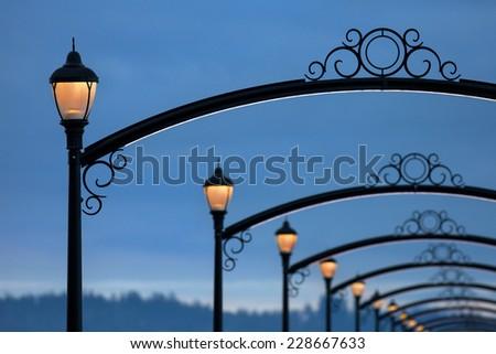 Beautiful Pier Lights - stock photo