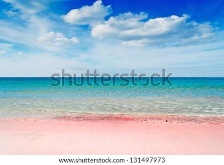 beautiful pink beach under a dramatic sky - stock photo