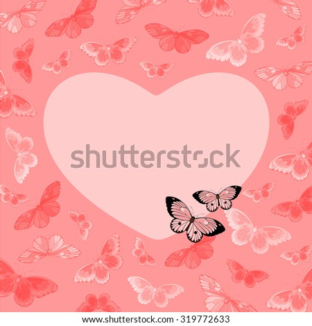 Beautiful pink card with butterflies and heart-shaped place for your text or photo (raster version) - stock photo