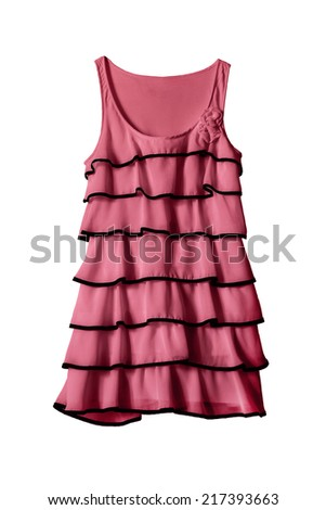 Beautiful pink dress with frills on white background - stock photo