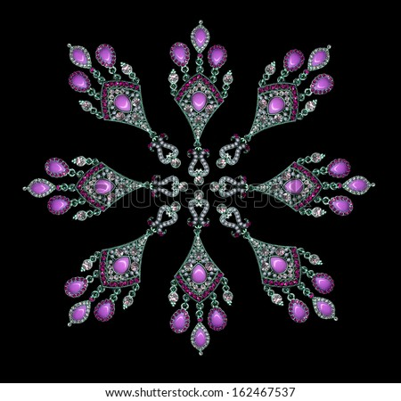 Beautiful Pink earrings set in a circular pattern on a black background - stock photo