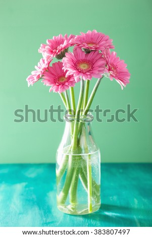 beautiful pink gerbera flowers bouquet in vase - stock photo