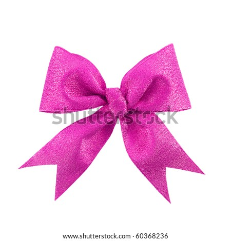 Beautiful pink gift bow, isolated on white - stock photo