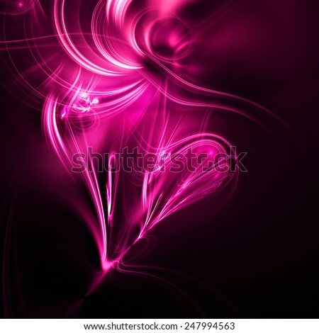 Beautiful pink heart. Abstract background with lighting effect for creative design invitation for party. Shiny illustration for Valentine, poster, cover booklet, flyer. Glowing fractal - stock photo