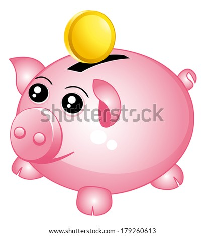 Beautiful pink piggy bank with one coin. Money concept. - stock photo