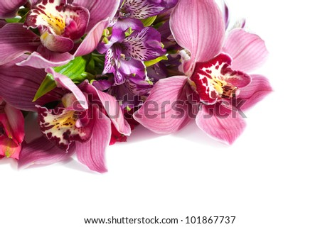 Beautiful pink wedding bouquet of orchids - stock photo