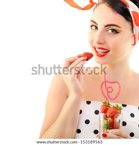 Beautiful pinup with strawberries, portrait of young happy smiling sexy woman in pin-up style, over white - stock photo