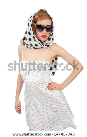 beautiful pinup woman with sunglasses - stock photo
