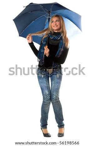 Beautiful playful blonde with blue umbrella. Isolated - stock photo