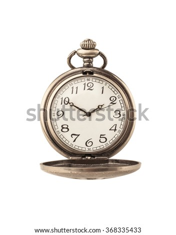 Beautiful pocket watch isolated on white - stock photo