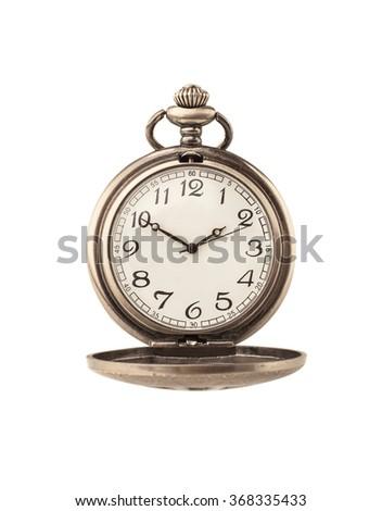 Beautiful pocket watch isolated on white - stock photo