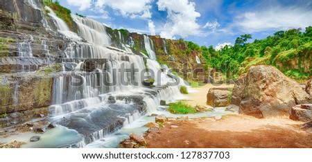 Beautiful Pongour waterfall in Vietnam. Panorama - stock photo