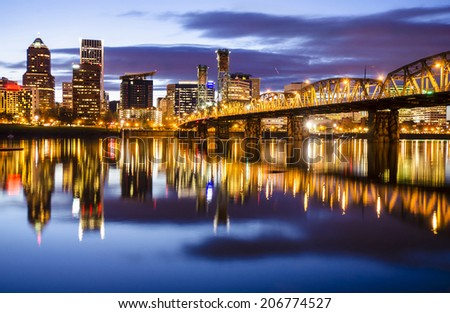 Beautiful Portland Night - stock photo
