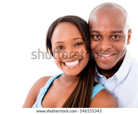 Beautiful portrait of a happy couple �¢?? isolated over white  - stock photo