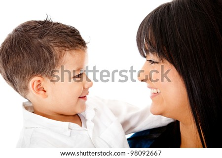 Beautiful portrait of a mother and son - isolated over a white background - stock photo