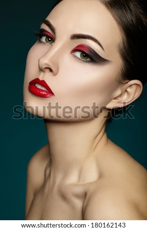Beautiful portrait of a woman. Makeup - stock photo