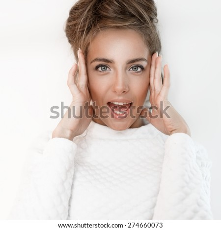 Beautiful portrait of fashionable girl on a white background - stock photo