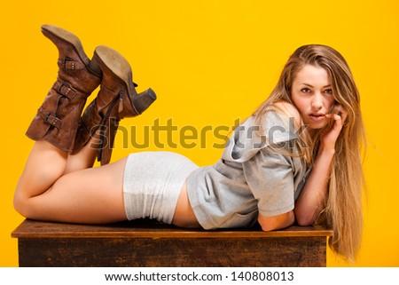 Beautiful portrait of sensual young woman - stock photo